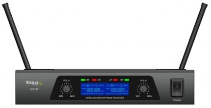 KIT MICROFONICO WIRELESS 2 MICROFONI  RICEVITORE 15-3028 - UHF20 IBIZA