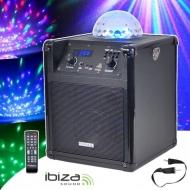 V- IBIZA SOUND Cassa Acustica Bluetooth Portatile USB SD AUX VHF Batteria Effetto Luce LED Rotante RGB KUBE60-BL